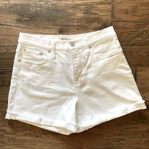 Madewell High Rise Denim Shorts in Tile White